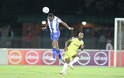 02102018 (Durban) Maritzburg United player Fortune makaringe fight for a ball during the game when Maritzburg United takes head on Cape Town City in an Absa Premiership match at theharry Gwala stadium in Pietermaritzburg on Friday night.<br /> Picture: Motshwari Mofokeng/African News Agency (ANA)