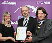Dolores Tiernan of Leitrim Citizen Information Centre receive their award from Tony McQuinn chief executive CIB and Matt Fisher COO, EFQM at the EFQM Ireland Excellence Awards ceremony in association with Fáilte Ireland and the Centre for Competitiveness at the Galway Bay Hotel on Friday night. Photo:- Andrew Downes Photography / No Fee