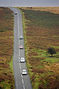 Cars on  a country road in Dartmoor, Devon,  United Kingdom