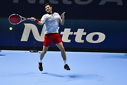 November 15, 2018 - London, United Kingdom - Dominic Thiem of Austria returns the ball during his round robin match against Kei Nishikori of Japan during Day Five of the Nitto ATP Finals at The O2 Arena on November 15, 2018 in London, England. (Credit Image: © Alberto Pezzali/NurPhoto via ZUMA Press)