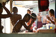 Myanmar, Amarapura, Mahagandayon Monastery, Burmese monks wash themselves