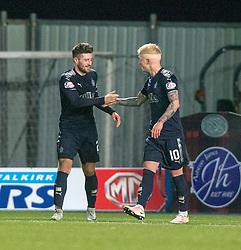 Falkirk's Lewis Kidd (2) cele scored their sixth goal. Falkirk 6 v 1 Dundee United, Scottish Championship game played 6/1/2018 played at The Falkirk Stadium.