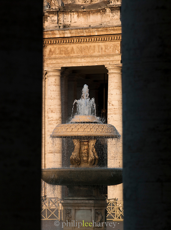 Fountain in St. Peters Square, Vatican City, Rome, Italy.