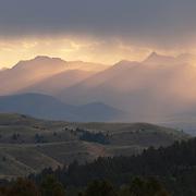 Evening light on mountains near Wilsall, Montana.