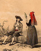 Man and woman from the Vallee d'Ossau, French Pyrenees, in traditional regional dress.  The woman is spinning yarn using a distaff.  Tinted lithograph from 'Nouvelles Suite de Costumes des Pyrenees' (Paris, c1840).
