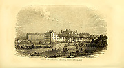 View of Lunatic Asylum, Lexington KY from the book ' Historical Sketches Of Kentucky (1847) ' ITS HISTORY, ANTIQUITIES, AND NATURAL CURIOSITIES, GEOGRAPHICAL, STATISTICAL, AND GEOLOGICAL DESCRIPTIONS. WITH ANECDOTES OF PIONEER LIFE By Lewis Collins. Published by Lewis Collins, Maysville, KY. and J. A. & U. P. James Cincinnati. in 1847