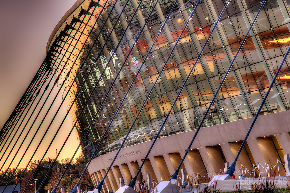 Assignment photography for Novum Structures of their glass curtain and cable structure at the Kauffman Center for the Performing Arts in Kansas City, Missouri.