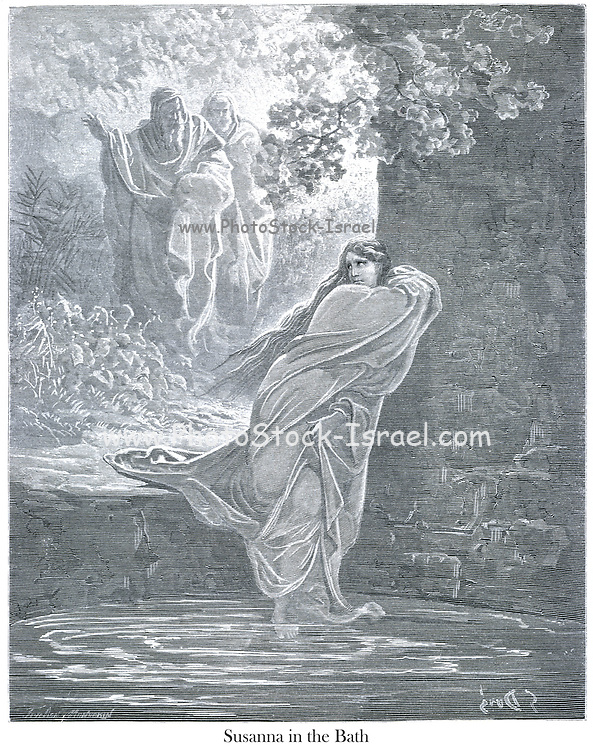 Susanna in the Bath The History of Susanna 21 From the book 'Bible Gallery' Illustrated by Gustave Dore with Memoir of Dore and Descriptive Letter-press by Talbot W. Chambers D.D. Published by Cassell & Company Limited in London and simultaneously by Mame in Tours, France in 1866