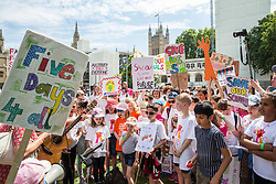 London, UK. 5 July, 2019. Hundreds of parents and children attend a protest organised by the Save Our Schools campaign group in Parliament Square against schools being forced to close early on Fridays due to funding cuts. The school attended by Ms Phillips's children will be closing at lunchtime on Fridays from September. Parents marched from Parliament Square to Downing Street to highlight the government's responsibility to care for and educate the nation's children on a Friday afternoon.
