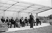 President de Valera cuts the first sod for the Faculty of Science building of University College Dublin, at Belfield. This was the first building of the new university campus. President Eamon De Valera addresses the gathering after the cutting of the first sod on the site for the new science building at University College, Dublin at Belfield..07.06.1962