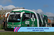 The Ireland rugby team bus arrives. Ireland rugby team training at Newport High School in Newport , South Wales on Friday 9th October 2015.the team are preparing for their next RWC match against France this Sunday.<br /> pic by  Andrew Orchard, Andrew Orchard sports photography.