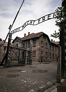 """Entrance gate to the Auschwitz-Birkenau concentration camp, Auschwitz, Poland<br /> Over the gate it says """"Work Makes You Free"""""""