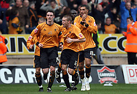 Photo: Rich Eaton.<br /> <br /> Wolverhampton Wanderers v West Bromwich Albion. Coca Cola Championship. 11/03/2007. Jay Bothroyd #10 far right celebrates scoring the only goal of the game but receives a yellow card for his celebrations