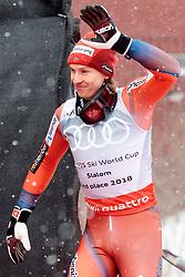 18.03.2018, Aare, SWE, FIS Weltcup Ski Alpin, Finale, Aare, Slalom Weltcup, Herren, Siegerehrung, im Bild Henrik Kristoffersen (NOR, Gesamt Weltcup 2. Platz, Slalom Weltcup 2. Platz, Rieseslalom Weltcup 2. Platz) // Overall World Cup second placed Giant Slalom World Cup second placed and Slalom World Cup second placed Henrik Kristoffersen of Norway during the winner Ceremony for the men's Slalom Worlcup of FIS Ski Alpine World Cup finals in Aare, Sweden on 2018/03/18. EXPA Pictures © 2018, PhotoCredit: EXPA/ Johann Groder