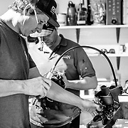 "Ryan ""Bootsie"" Huggins works on ski boots in his Teton Boot Lab shop."