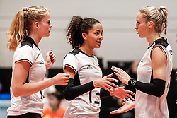 16.05.2019, Montreux, SUI, Montreux Volley Masters 2019, Deutschland vs Polen, im Bild Hanna Orthmann (Germany #12), Denise Imoudu (Germany #13), Louisa Lippmann (Germany #11) // during the Montreux Volley Masters match between Germany and Poland in Montreux, Switzerland on 2019/05/16. EXPA Pictures © 2019, PhotoCredit: EXPA/ Eibner-Pressefoto/ beautiful sports/Schiller<br /> <br /> *****ATTENTION - OUT of GER*****