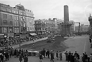 An area around the site is cordoned off in preparation for the army demolition of what is left of Nelson's Pillar after a republican bomb.13.03.1966