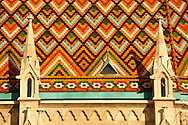 Tiled roof of Church of Our Lady or Matthias Church ( Mátyás templom), Castle District, Budapest Hungary