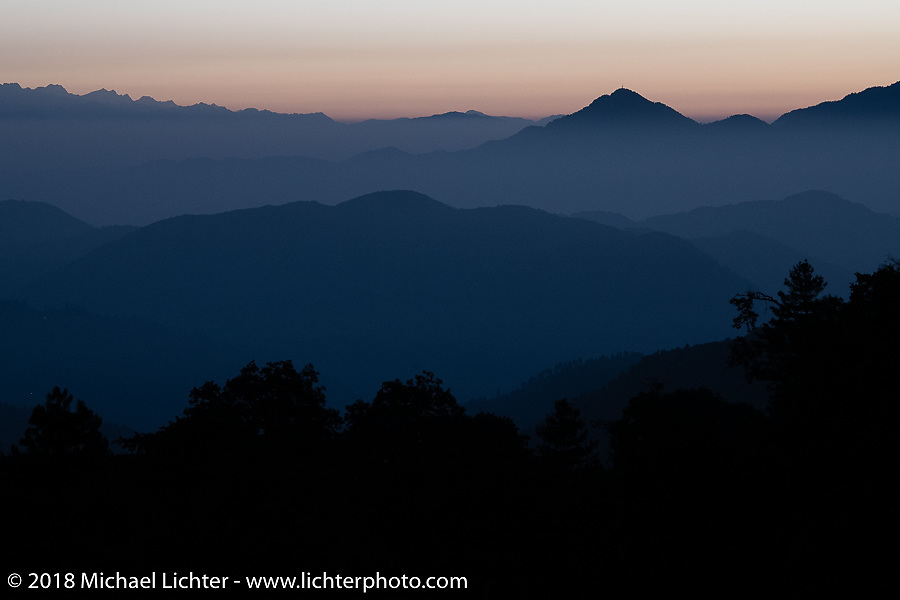 Spectacular view from the patio of our inn near the village of Daman where we spent our first night in the mountains on our Himalayan Heroes adventure after riding from Kathmandu to Daman, Nepal. The view took in Dhaulagiri to the west and Mount Everest in the east. Wednesday, November 7, 2018. Photography ©2018 Michael Lichter.