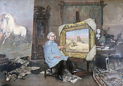 Rosa Bonheur (1822-1899) French female artist noted for her paintings and sculptures of animals. Bonheur  at work in here studio. After painting by Consuelo Fould. From 'Le Petit Journal', Paris, 1893. Animaliere, Realist