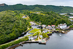 Aerial view  from drone of  Crinan Canal at Crinan in Argyll & Bute, Scotland, Uk
