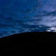Jade Goodrich runs at sunset along a ridgeline in Gasworks Park near Seattle, Washington.