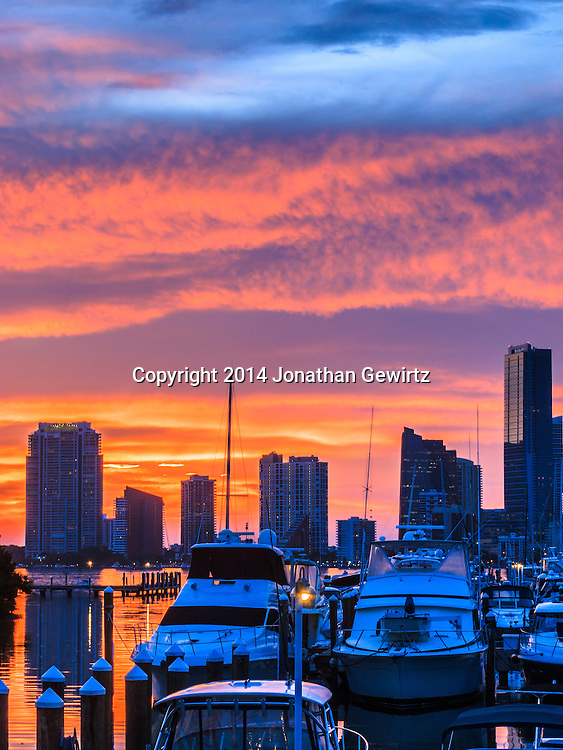 A beautiful sunset over downtown Miami.<br /> <br /> WATERMARKS WILL NOT APPEAR ON PRINTS OR LICENSED IMAGES.