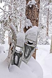 Snowshoes in fresh snow, Breckenridge, Colorado.