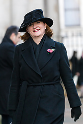 © Licensed to London News Pictures. 10/11/2019. London, UK. Nicky Morgan walks through Downing Street to attend the Remembrance Sunday Ceremony at the Cenotaph in Whitehall. Remembrance Sunday events are held across the country today as the UK remembers and honours those who have sacrificed themselves in two world wars and other conflicts. Photo credit: Vickie Flores/LNP