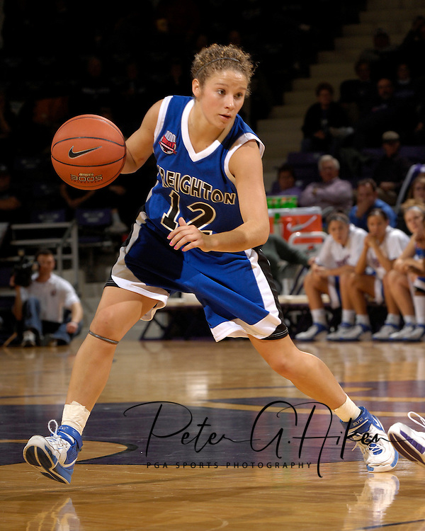 Creighton guard Ally Thrall drives the ball up court against Kansas State in the first half at Bramlage Coliseum in Manhattan, Kansas November 13, 2006.  K-State beat the Bluejays 94-79.<br />