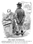 """The Great Uncontrolled. Lord Rhondda. """"Look here, John, are you going to tighten that belt, or must I do it for you?"""" John Bull. """"You do it for me. That's what you're there for."""" (John Bull stands infront of the poster in Lord Rhondda's office which reads You Are Respectfully Invited To Eat A Little Less - By Request - A. Yapp, during WW1)"""