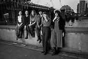 Idle Women: artists; Catherine Bagg; Rose O' Gallivan; ; Niamh Riordan; Poppy Jones; Lise Hoveson; Gabrielle Beveridge, ;  Blackriars. London. 10 January 2010 *** Local Caption *** -DO NOT ARCHIVE-© Copyright Photograph by Dafydd Jones. 248 Clapham Rd. London SW9 0PZ. Tel 0207 820 0771. www.dafjones.com.<br /> Idle Women: artists; Catherine Bagg; Rose O' Gallivan; ; Niamh Riordan; Poppy Jones; Lise Hoveson; Gabrielle Beveridge, ;  Blackriars. London. 10 January 2010