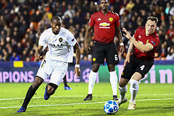 December 12, 2018 - Valencia, Spain - Kondogbia of Valencia CF (L) and Phil Jones of Manchester United during UEFA Champions League Group H between Valencia CF and Manchester United at Mestalla stadium  on December 12, 2018. (Photo by Jose Miguel Fernandez/NurPhoto) (Credit Image: © Jose Miguel Fernandez/NurPhoto via ZUMA Press)