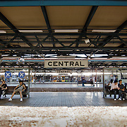 People waiting for the train in Sydney Central Station.