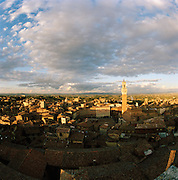 Elevated view of the Piazza Del Campo and the Torre del Mangia, Siena, Tuscany, Italy