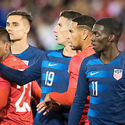 EAST HARTFORD, CONNECTICUT- October 16th: Ben Sweat #19 of the United States marked by Alexander Callens #5 of Peru during the United States Vs Peru International Friendly soccer match at Pratt & Whitney Stadium, Rentschler Field on October 16th 2018 in East Hartford, Connecticut. (Photo by Tim Clayton/Corbis via Getty Images)