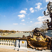 Seine and old bridge in Paris