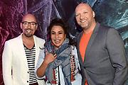 SBS Persdag van De Vreemde Eend en Met de deur in huis in Studio Aalsmeer.<br /> <br /> Op de foto:  Met de deur in huis panel - Ruben van der Meer, Patty Brard en Maik de Boer