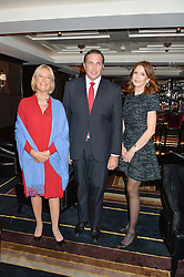 Left to right, PRINCESS OLGA ROMANOFF, PRINCE CHARLES PHILIPPE d'ORLEANS and MRS KIMBERLEY ROBSON at a cocktail party hosted by Mrs Sonia Falcone and Mrs Kimberley Robson Chairman of Le Bal de la Riveria 2016 for the forthcoming Ball held at Flemings Hotel, Half Moon Street, London on 27th September 2016.