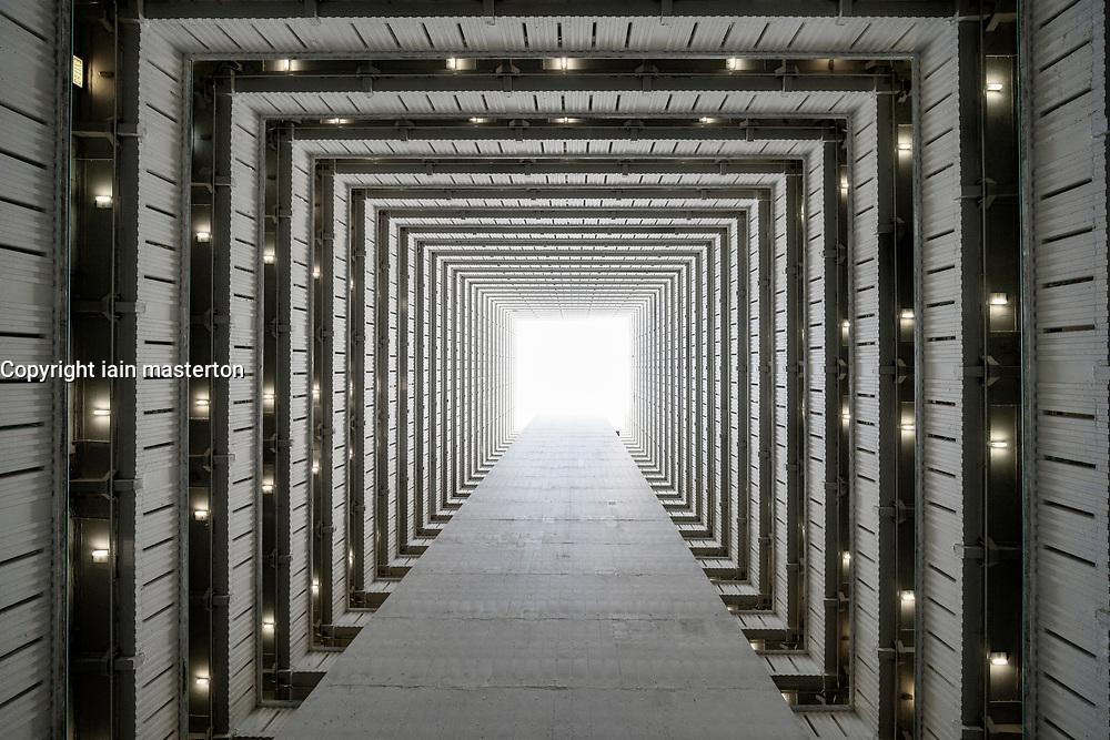 Looking up through atrium of social housing apartment block at Choi Hung in Kowloon, Hong Kong.