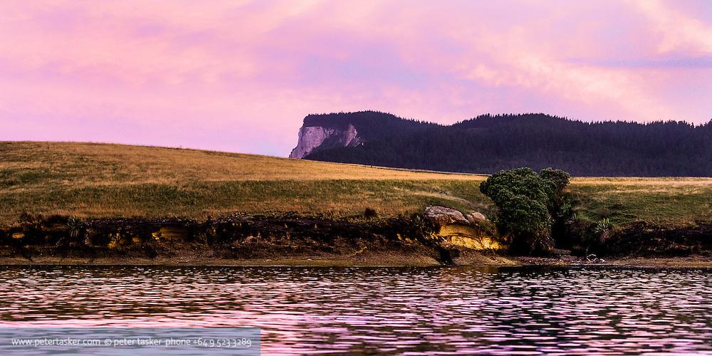 Great Mercury Island.  Parapara Harbour at sunset.