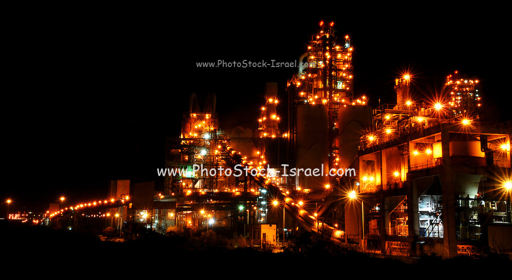 Night Photography of the Nesher Israel Cement Enterprises factory in Ramla, Israel.