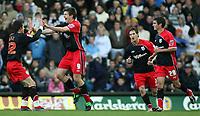 Photo: Paul Thomas.<br /> Leeds United v Southampton. Coca Cola Championship. 18/11/2006.<br /> <br /> Grzegorz Rasiak (2nd L) of Southampton celebrates his goal.