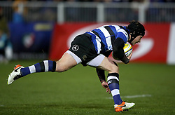 Bath's Jack Wilson goes over for a try