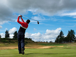 Gleneagles, Scotland, UK; 8 August, 2018.  European Championships 2018. Day one of golf competition at Gleneagles..Men's and Women's Team Championships Round Robin Group Stage - 1st Round. Four Ball Match Play format. Lee Slattery of Great Britain 1 tees off on the 18th hole. Match against Spain 2 was halved.