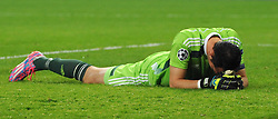 Anderlecht's Silvio Proto cuts a dejected figure as his side loses in the last minute - Photo mandatory by-line: Dougie Allward/JMP - Mobile: 07966 386802 - 22/10/2014 - SPORT - Football - Anderlecht - Constant Vanden Stockstadion - R.S.C. Anderlecht v Arsenal - UEFA Champions League - Group D