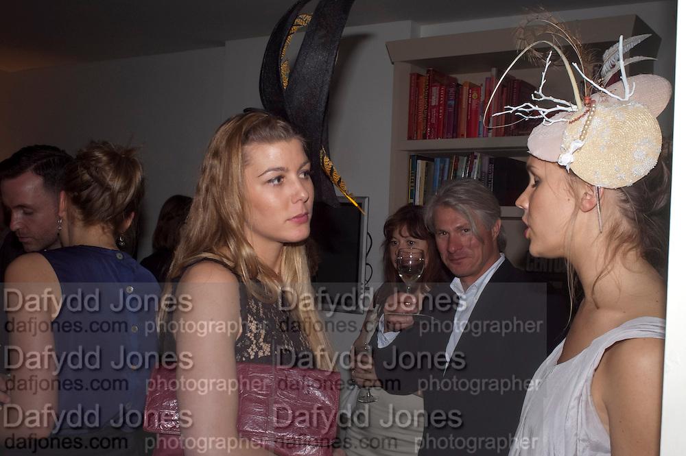 ANNA COLLETT; ELIZABETH NYGAARD; , WEARING HATS BY KATHRYN ELIZABETH, London On A Plate - launch of new iPhone app.<br /> Morton's Club, 28 Berkeley Square,  London, 1 June 2011<br /> <br /> <br />  , -DO NOT ARCHIVE-© Copyright Photograph by Dafydd Jones. 248 Clapham Rd. London SW9 0PZ. Tel 0207 820 0771. www.dafjones.com.