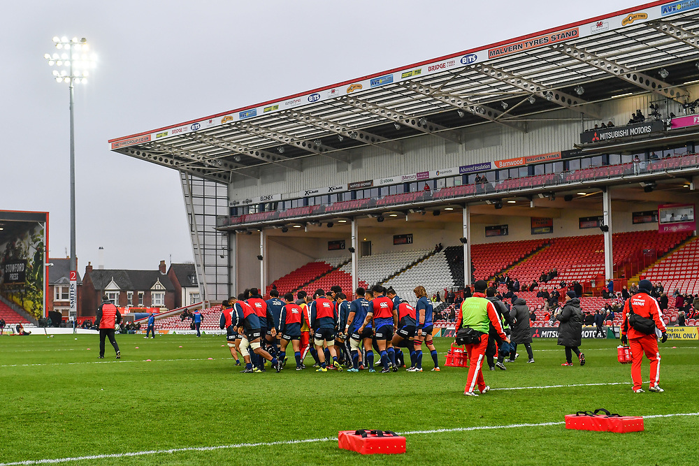 A general view of Kingsholm Stadium, venue for todays Japan v Russia Autumn International as Japan warm up ahead of the game<br /> <br /> Photographer Craig Thomas<br /> <br /> Japan v Russia<br /> <br /> World Copyright ©  2018 Replay images. All rights reserved. 15 Foundry Road, Risca, Newport, NP11 6AL - Tel: +44 (0) 7557115724 - craig@replayimages.co.uk - www.replayimages.co.uk