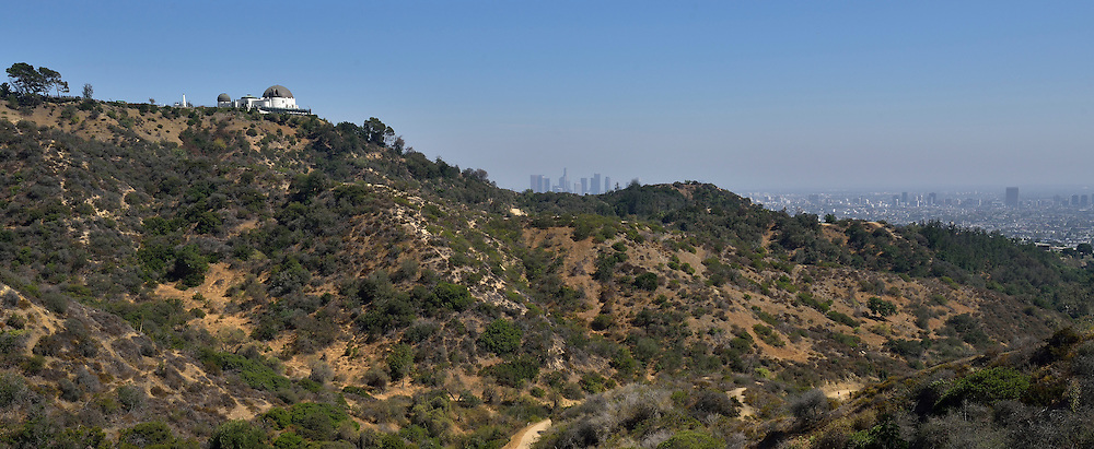 Cropped view of Griffith Observatory and downtown Los Angeles from within Griffith Park, California, United States.