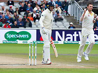 Cricket - 2019 Australia Ashes Tour of England - 4th Test, Day Three<br /> <br /> Josh  Hazlewood  celebrates the dismissal of Craig Overton , at Old Trafford.<br /> <br /> COLORSPORT/WINSTON BYNORTH